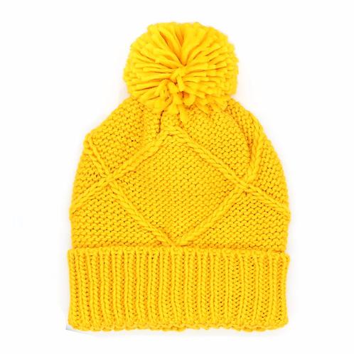 Yellow trellis knit bobble hat with matching pom-pom