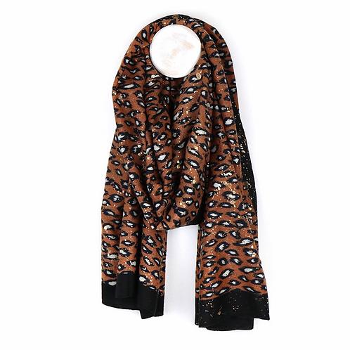 Terracotta animal print scarf with metallic overlay