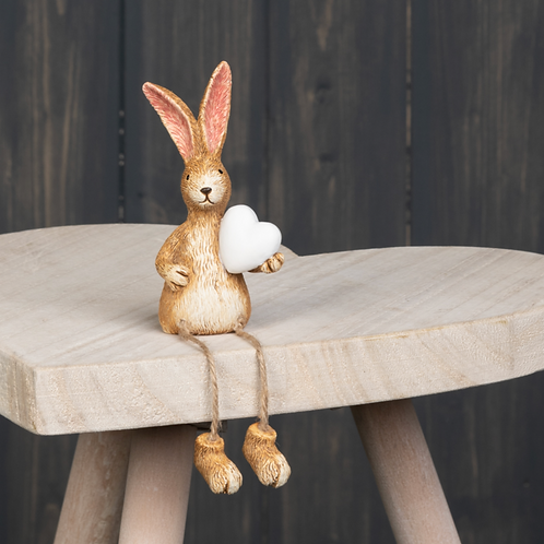 Shelf Sitting Rabbit with Heart 18 cm