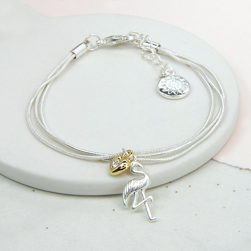 Silver Plated Flamingo And Gold Crystal Heart Bracelet
