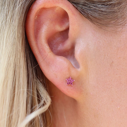 Sterling silver pink crystal star earrings