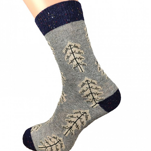 GREY FUR TREE WOOL BLEND SOCKS