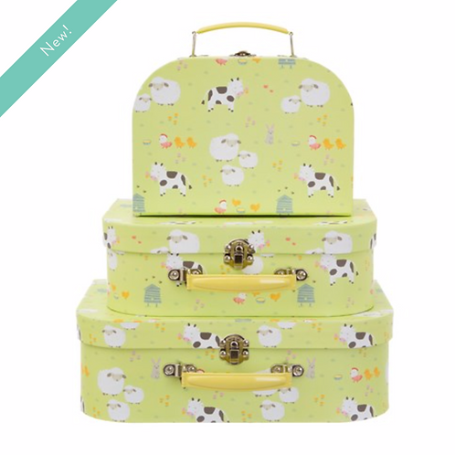 FARMYARD FRIENDS SUITCASES - SET OF 3