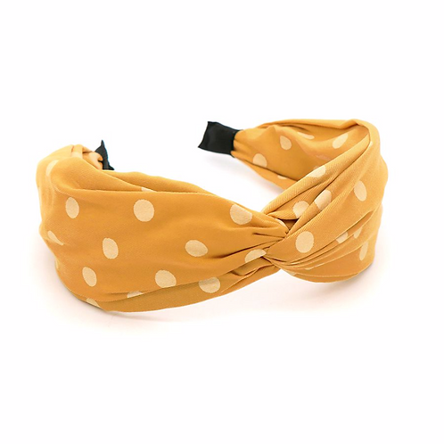 Yellow and white polkadot print headband