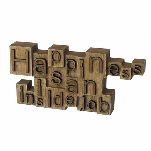 Happiness Wooden Block Sign