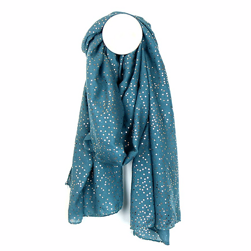 Teal blue scarf with rose gold scatter dot print