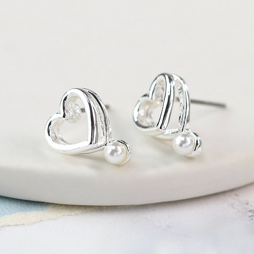 Silver plated double heart and pearl earrings