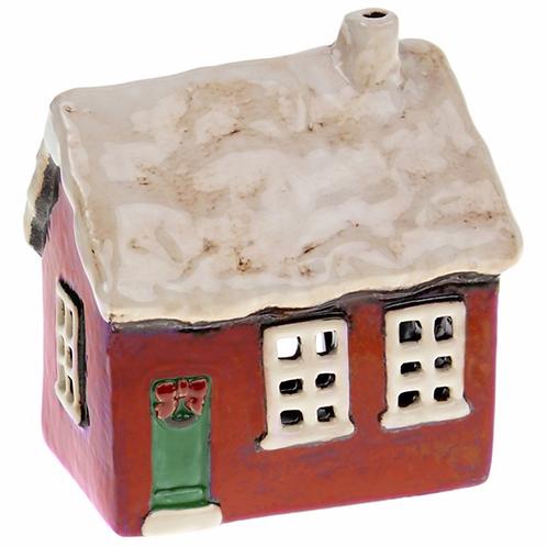Xmas Village Pottery Cottage Tealight