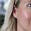 Thumbnail: Sterling silver triple scratched heart earrings