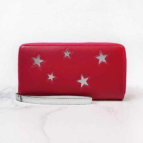 Deep Pink Purse With Silver Stars