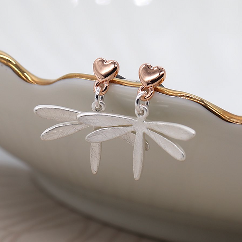 Silver and rose gold plated heart dragonfly drop earrings