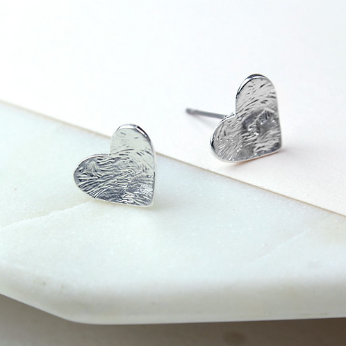 Silver Plated Foil Texture Heart Stud Earrings