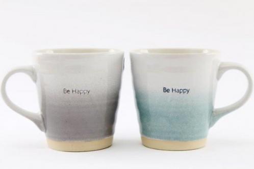 Be Happy Embossed Mug