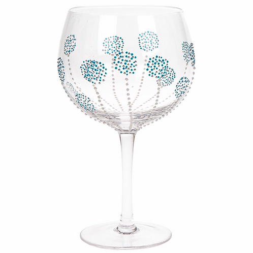 Sunny By Sue Gin & Tonic Glass Teal Burst