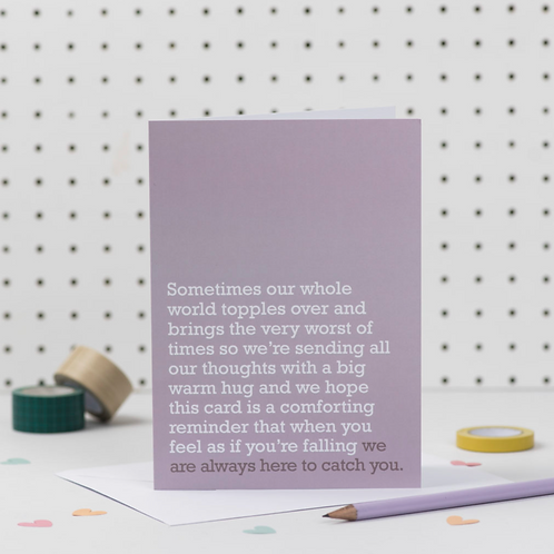 'WE ARE ALWAYS HERE TO CATCH YOU' THINKING OF YOU CARD