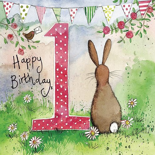 One Bunny 1st Birthday Card