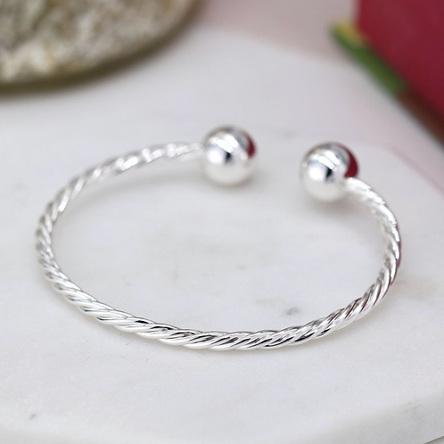 Silver plated twisted strand torc bracelet