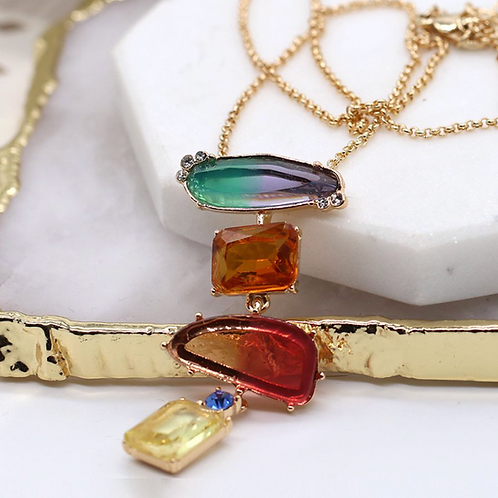 Golden chain multi-coloured glass and crystal necklace