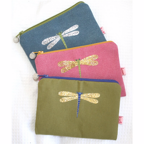 Embroidered Dragonfly Purse