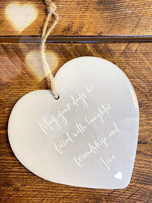 Grey Ceramic Heart-May Your Days