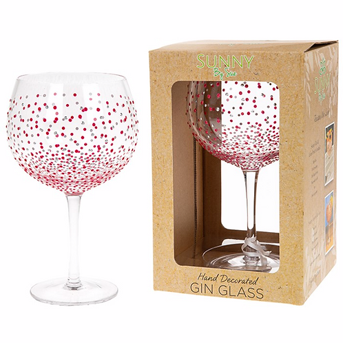 Sunny By Sue Gin & Tonic Glass Crimson Dot