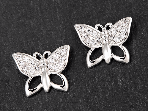 Girls Silver Plated Sparkle Butterfly Earrings