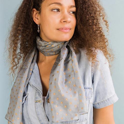 Grey silk scarf with metallic gold polka dot print