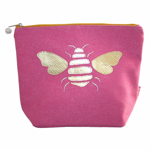 Gold Bee Large Cosmetic Purse-Pink