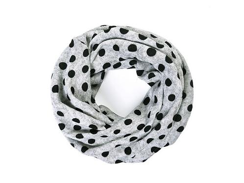 Grey Black dot snood/headband