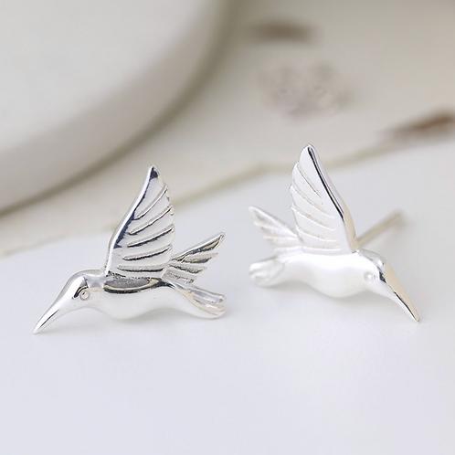 Sterling silver birds in flight earrings