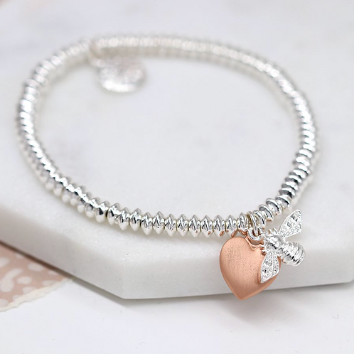 SP OVAL BEAD BRACELET WITH SP BUMBLEBEE AND ROSE GOLD HEART