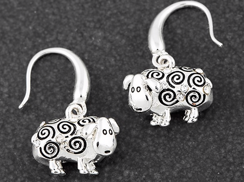 Country Sheep Dangly Silver Plated Earrings