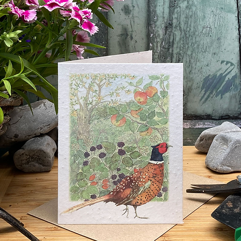 Pheasant and Hedgerow Plantable Seed Card