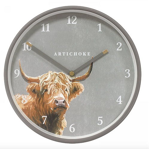 "Highland Cow 9"" Wall Clock"