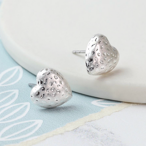 Silver plated hammered heart stud earrings