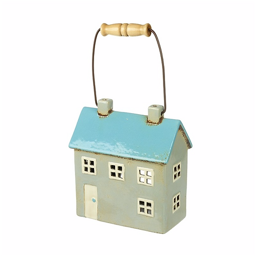 Blue Roof Ceramic House Candle Holder W/Handle