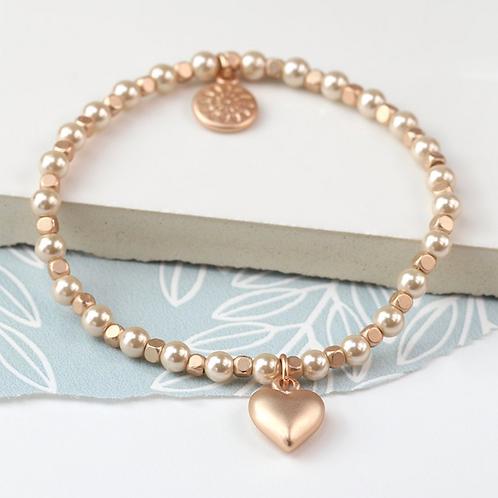 Matt rose gold heart and champagne pearl bracelet