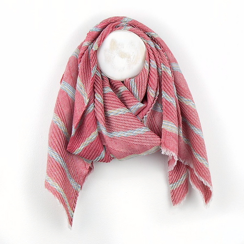 Red Mix Striped Chevron Pleat Scarf