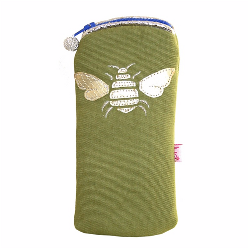Gold Bee Glasses Purse-Olive
