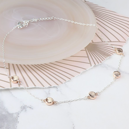 Silver plated chain and rose gold disc necklace