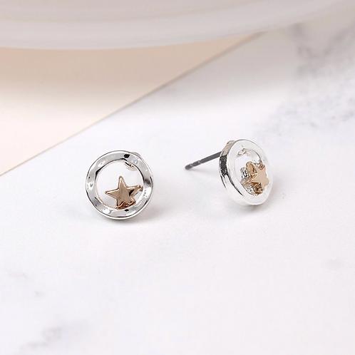 Silver Plated Beaten Disc Rose Gold Star Earrings