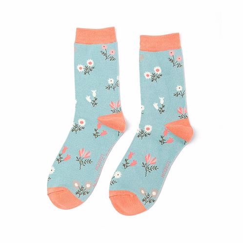 Dainty Floral Socks Duck Egg