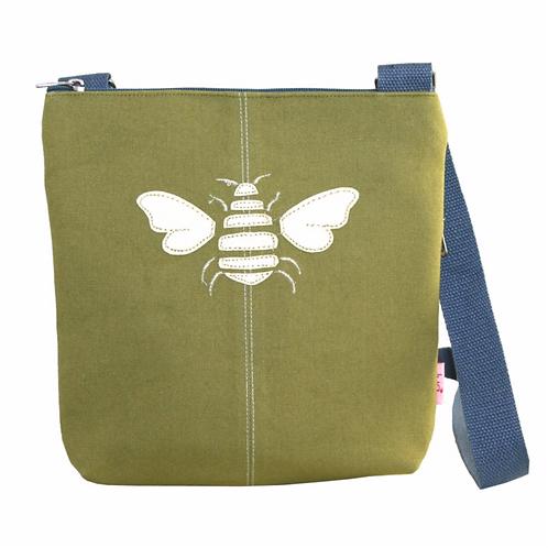 Bee Applique Messenger Bag-Olive