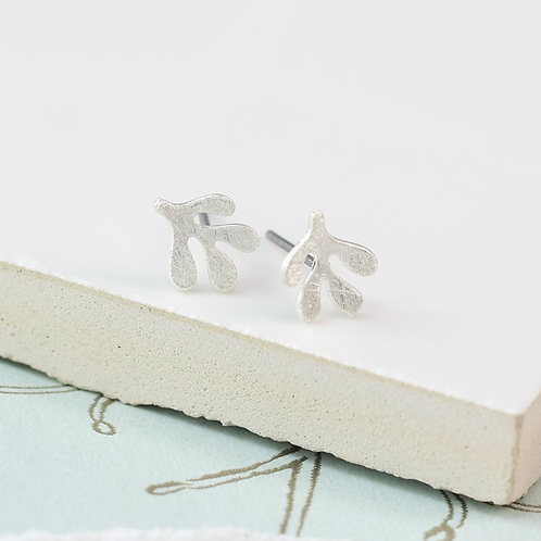 Silver plated leaf stud earring