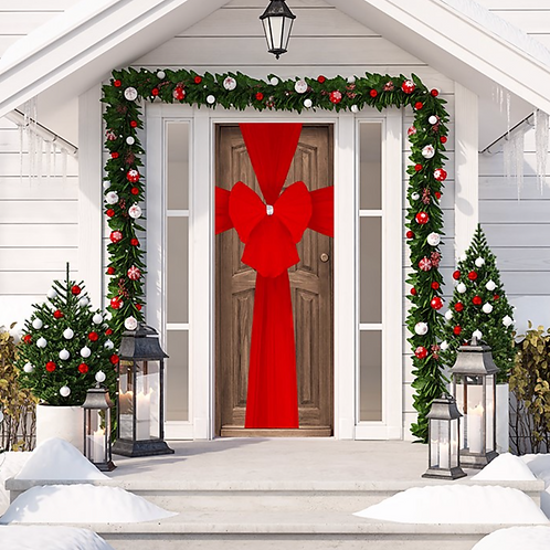 Christmas Red Door Bow