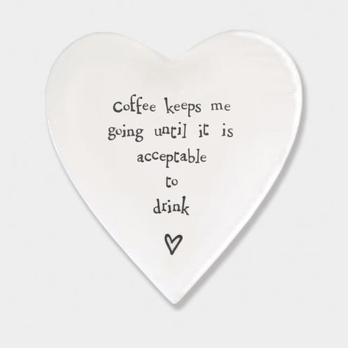 Coffee keeps me going Heart Porcelain Coaster