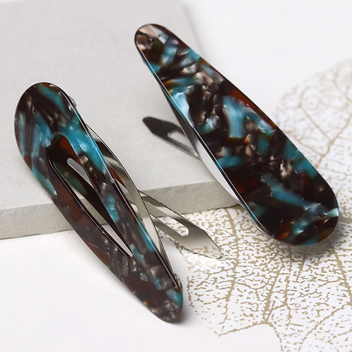 Turquoise mix double hairclip set
