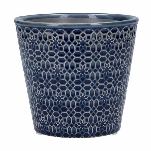 Ceramic Pot Cover 13.5cm - Navy Mosaic