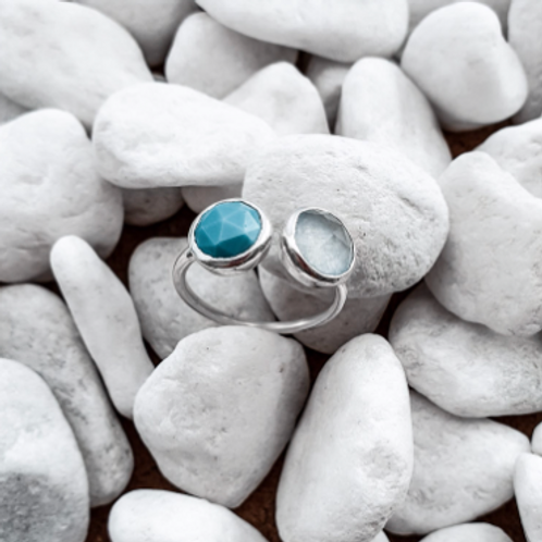 Maraja Silver Ring with Turquoise & Blue Chalcedony stones
