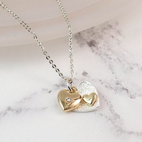 Silver And Gold Plated Double Heart Necklace
